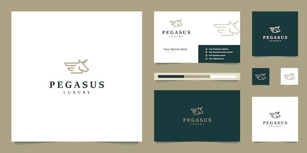 Elegante pegaso. caballo premium minimalista. silueta mítica de estilo pegasus, inspiración de diseño de logotipo premium.