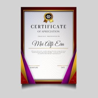 Elegante plantilla de archivo de certificado de diploma