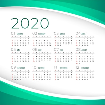 Elegante plantilla de calendario 2020