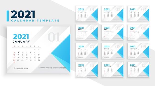 Elegante plantilla de calendario de año nuevo 2021 simple