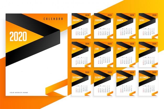 Elegante plantilla de calendario empresarial 2020 año nuevo