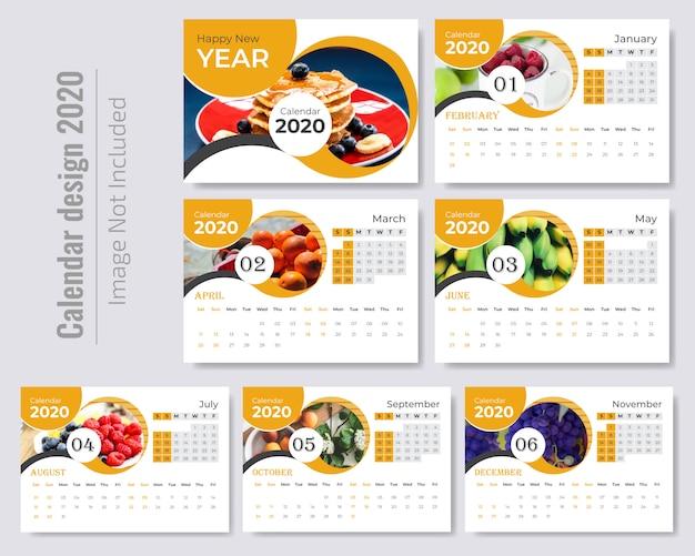Elegante plantilla de calendario ondulado