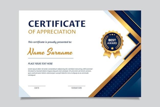 Elegante plantilla de certificado de agradecimiento degradado