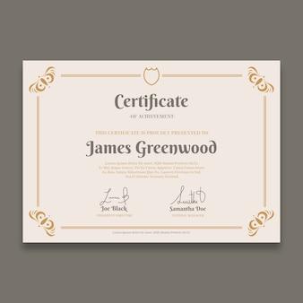 Elegante plantilla de certificado con bordes dorados