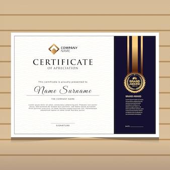 Elegante plantilla de certificado de diploma azul y oro.