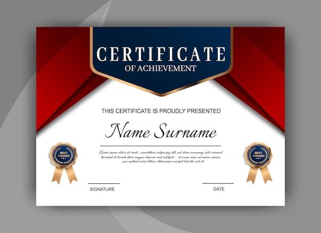 Elegante plantilla de certificado de diploma azul y rojo