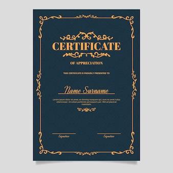 Elegante plantilla de certificado de diseño de aspecto victoriano