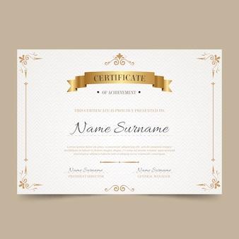 Elegante plantilla de certificado con elementos dorados