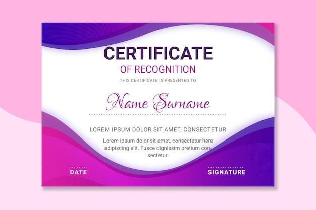 Elegante plantilla de certificado para graduación