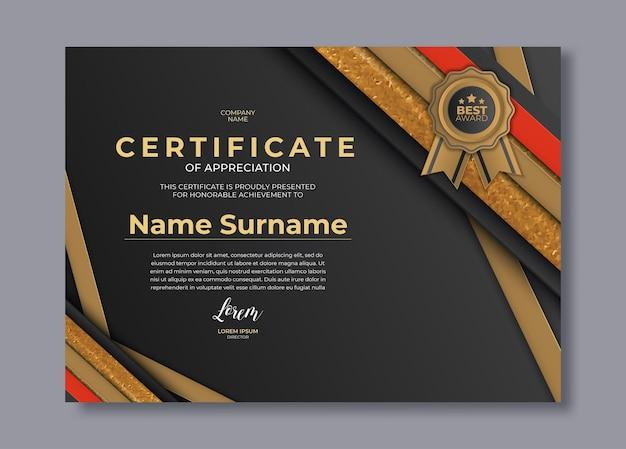 Elegante plantilla de certificado de logro con formas doradas