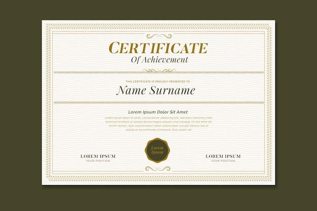 Elegante plantilla de certificado con marco ornamental