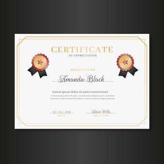 Elegante plantilla de certificado con marco