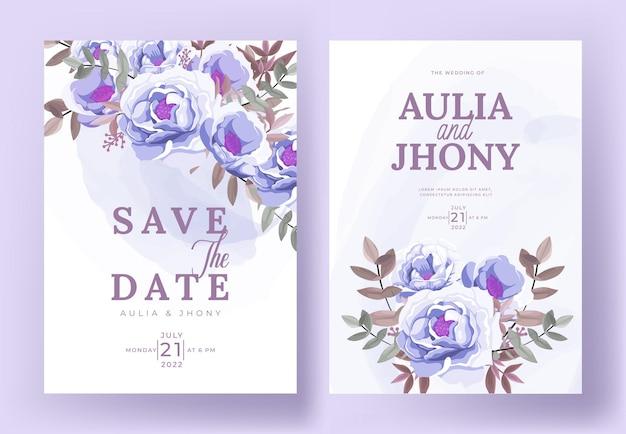 Elegante plantilla de conjunto de tarjeta de invitación de boda con hermosas flores y hojas