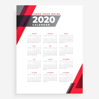 Elegante plantilla de diseño de calendario de año nuevo geométrico 2020