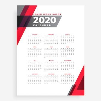 Elegante plantilla de diseño de calendario de año nuevo geométrico 2020