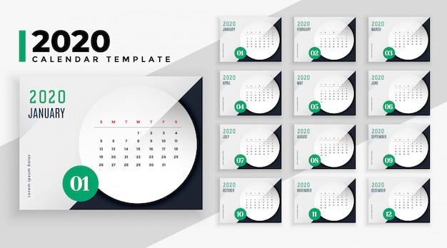 Elegante plantilla de diseño de calendario de estilo empresarial 2020