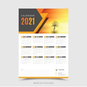 Elegante plantilla de diseño de calendario moderno 2021