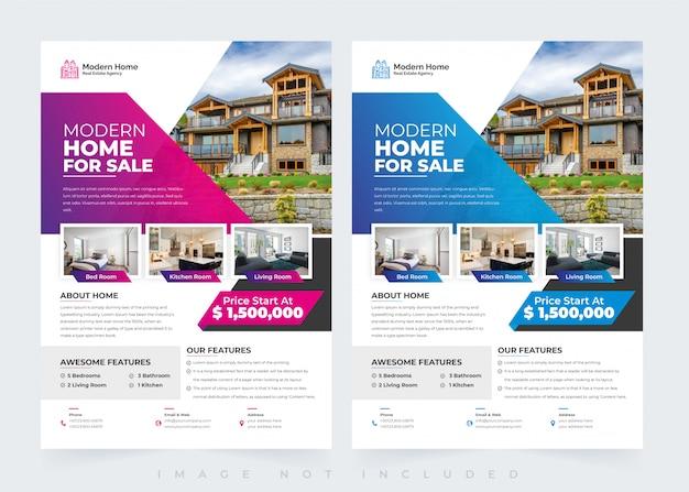 Elegante plantilla de diseño de flyer de bienes raíces para el hogar