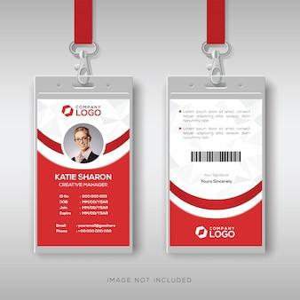 Elegante plantilla de diseño de tarjeta de identificación roja y blanca