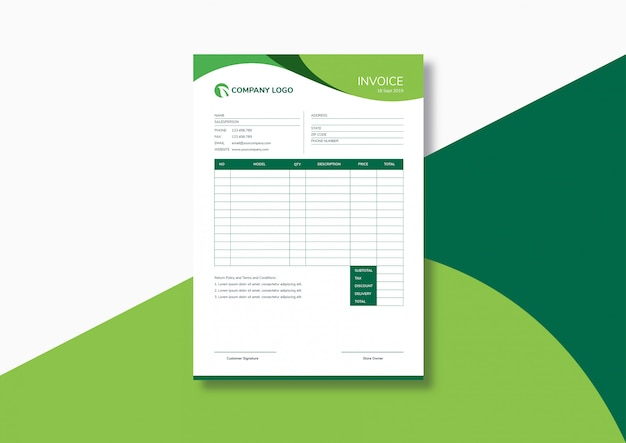 Elegante plantilla de factura verde moderna