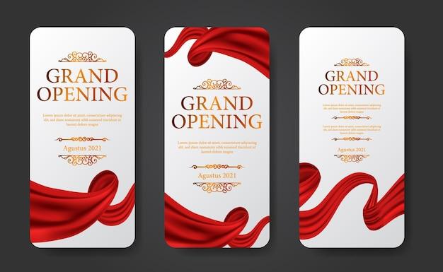 Elegante plantilla de historias de redes sociales de gran inauguración de lujo con cortina roja de seda en forma de remolino con color dorado y fondo blanco