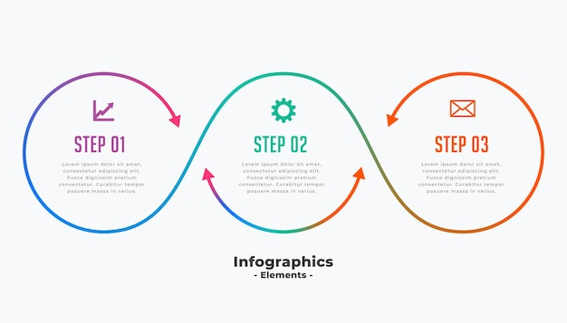 Elegante plantilla de infografía empresarial de tres pasos