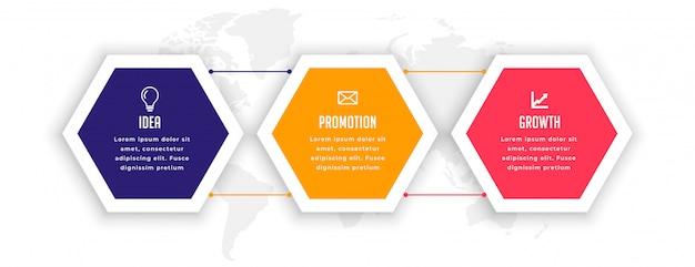 Elegante plantilla de infografía hexagonal de tres opciones
