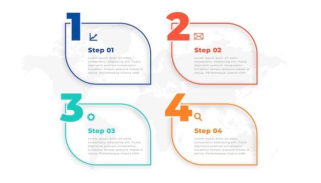 Elegante plantilla de infografía de línea de cuatro pasos
