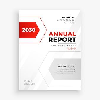 Elegante plantilla de informe anual empresarial rojo y blanco