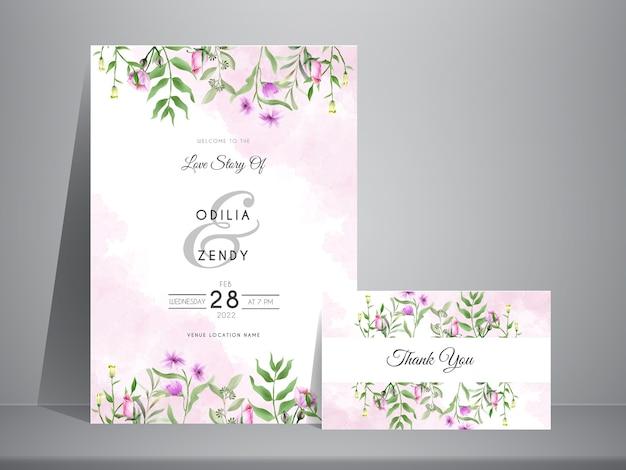 Elegante plantilla de invitación de boda con acuarela floral minimalista