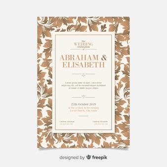 Elegante plantilla de invitación de boda de damasco