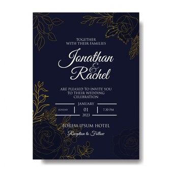 Elegante plantilla de invitación de boda dibujada a mano