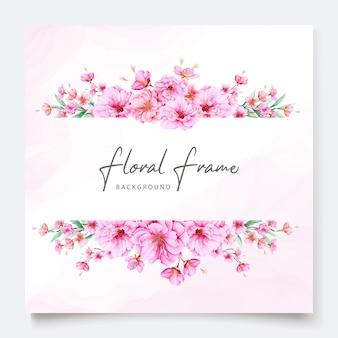 Elegante plantilla de invitación de boda de flor de cerezo