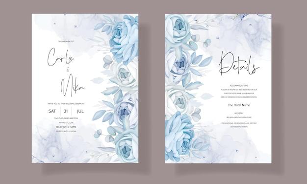 Elegante plantilla de invitación de boda floral azul