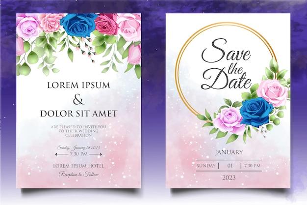 Elegante plantilla de invitación de boda floral dibujada a mano