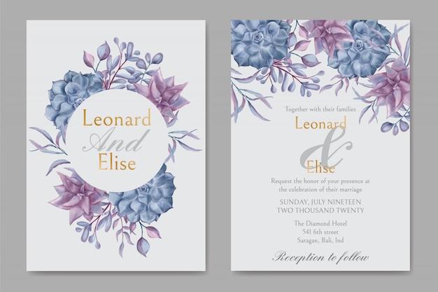 Elegante plantilla de invitación de boda floral suculenta