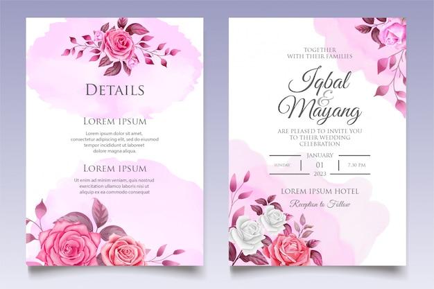 Elegante plantilla de invitación de boda floral
