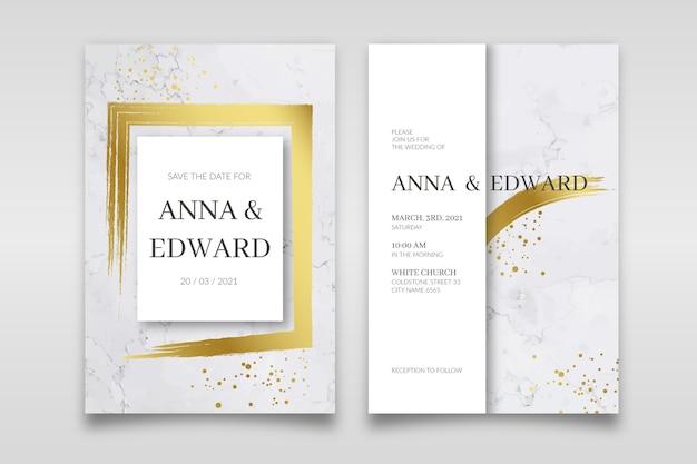 Elegante plantilla de invitación de boda de mármol con detalles dorados
