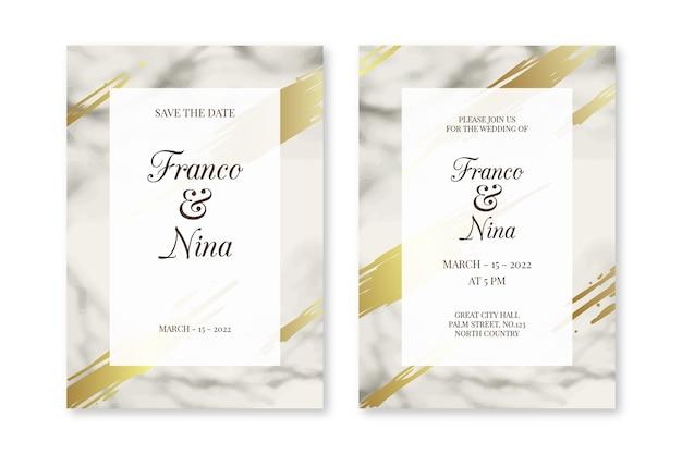 Elegante plantilla de invitación de boda de mármol