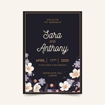 Elegante plantilla de invitación de boda con los nombres de la pareja