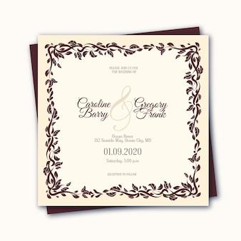 Elegante plantilla de invitación de boda vintage