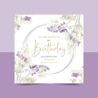 Elegante plantilla de invitación de cumpleaños floral