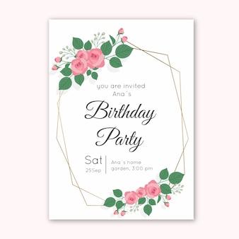 Elegante plantilla de invitación de cumpleaños con flores.