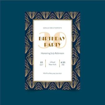 Elegante con plantilla de invitación de cumpleaños de marco