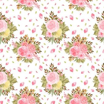 Elegante plantilla de invitación floral acuarela con hermosas flores