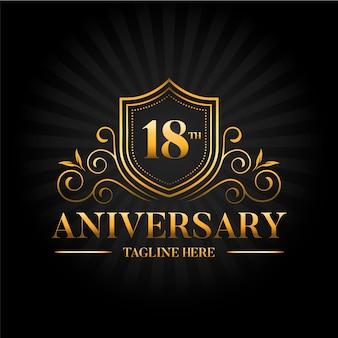 Elegante plantilla de logotipo dorado del décimo octavo aniversario