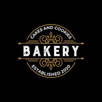 Elegante plantilla de logotipo vintage de pastel y galletas de panadería
