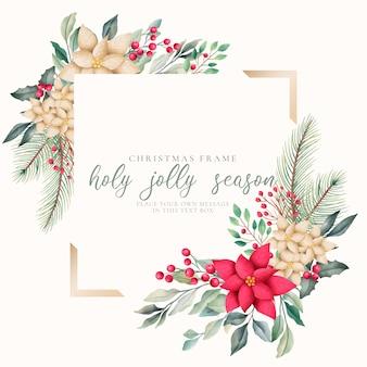 Elegante plantilla de marco de navidad con naturaleza acuarela