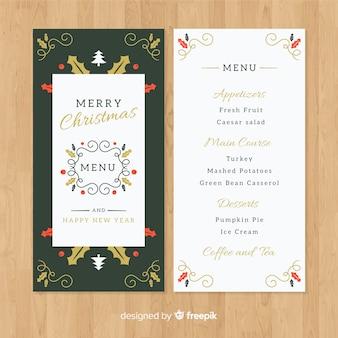 Elegante plantilla de menú de navidad en diseño flat