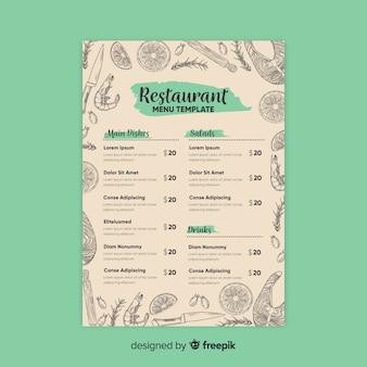 Elegante plantilla de menú de restaurante con dibujos